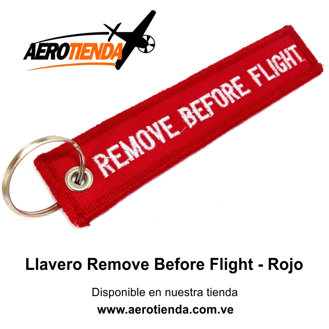 Llavero Remove Before Flight de tela
